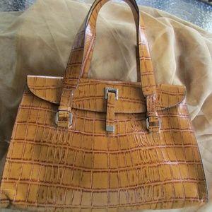 Golden Adrienne Vittadini Leather Purse Handbag